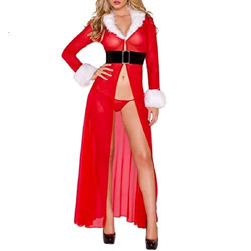Likecrazy Dessous Damen Erotisch Nachtwäsche Kleid Unterwäsche Weihnachten Cardigan Bademantel Gürtel Robe Dessous Festival Frauen Sexy Langarm Mesh Negligee Erotic Lingerie Pyjama
