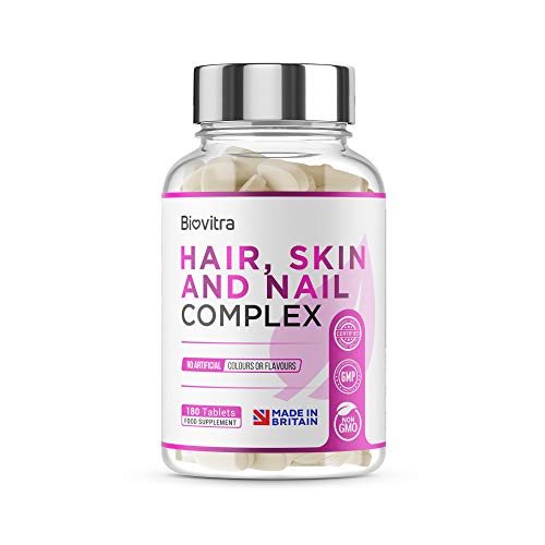 BioVitra Hair, Nail and Skin Biotin Complex High Strength UK Made Biotin Supplement for Your Body & Skincare, 180 Tablets