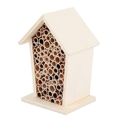 Nicoone Caja de madera para insectos de abejas de madera, refugio de madera, refugio de jardín, hábitat de anidación de bambú para decoración de jardín al aire libre (14 x 10 x 8 cm)