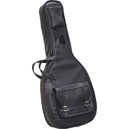 Levy's Leathers LM20-BLK Deluxe Leather Acoustic Guitar Bag, Black