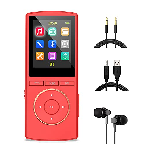 Reproductor MP3 Bluetooth Mejorado 32GB, Multifunción Chicas Música Grabador FM Radio, Rasgando, Shuffle, HiFi, Rojo Mate(Auriculares con Cable, Cable Auxiliar y Cable Micro USB incluidos)