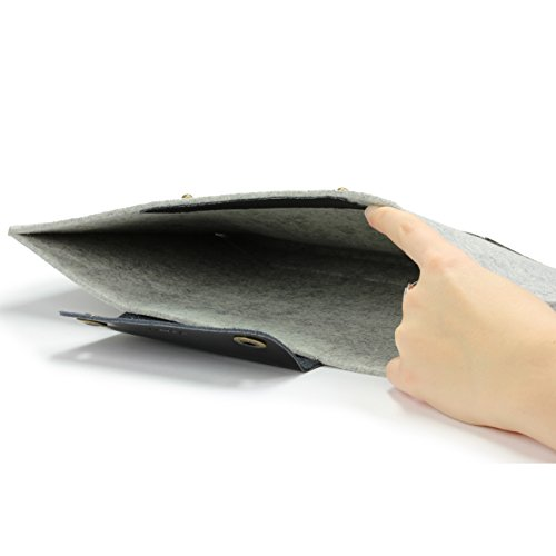 Urcover Handgefertige Designer MacBook Pro 15 Zoll (47 cm) Tasche Sleeve Hülle EXTRA Fach für Maus Ladekabel etc. Notebooktasche Ultrabook-Schutzhülle Laptophülle in Hell Grau Schwarz