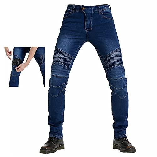 Bonfor Pantalones Moto Hombre con Protección Carreras Invierno, Pantalones Hombre Vaqueros Motocross Motocicleta Pantalón Trabajo Elástico (A~Azul, XS)
