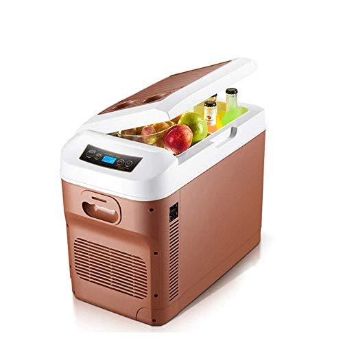 LKOER Mini Nevera, refrigerador portátil 28L, refrigerador de Coches pequeño congelador, refrigeración y calefacción, AC/DC (12V / 24V / 110~240V), Digi jinyang (Color : Brown)