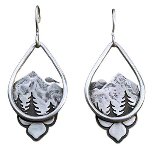 BSTTAI Pendientes Colgantes para Mujer, Pendientes de árbol del Bosque Alpino, Pendientes Colgantes de Pino de montaña de Plata, Pendientes de Gota de Agua, Pendientes de aleación Boho