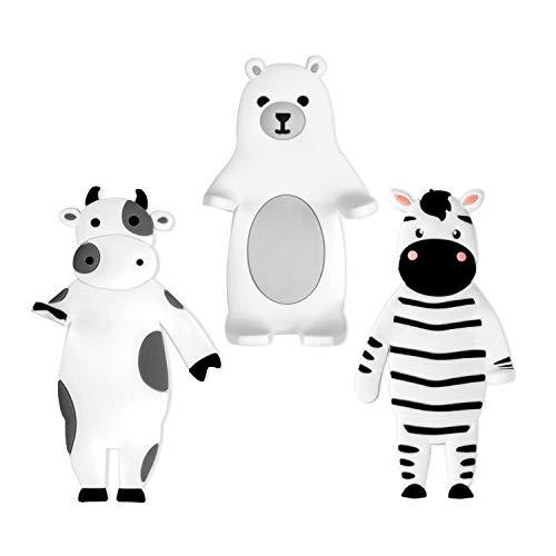 MEKO Klebehaken ohne Bohren, 3 Stück biegsam Tier Figuren Handtuchhaken Badezimmer Kinderzimmer Küche selbstklebend Haken für Kinder, Max 500G