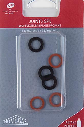 Home Gaz Dichtungen, Gas Butan/Propan, Set mit 6 Stück - 3Rot/3 Schwarz
