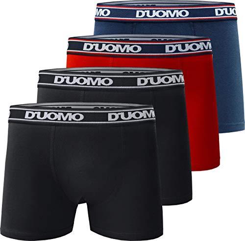 Kit com 4 Cuecas Boxer Básico, Duomo, Masculino, Preto/Vermelho/Marinho, G