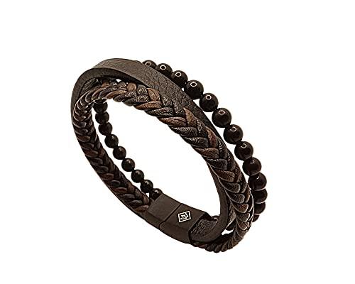 WAKYNE   Bracelet Homme   Perle noir 6 mm et cuir tressé noir et brun   Fermeture magnétique en acier inoxydable   Coffret cadeau   Bijou original   21 cm