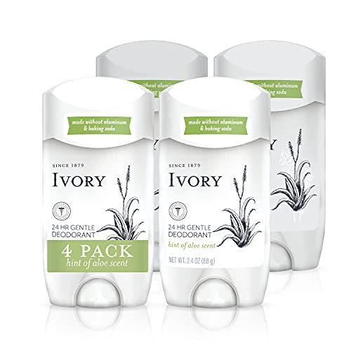 Ivory Deodorant, Hint Of Aloe, Made Without Aluminum and Baking Soda, 2.4 Oz, Pack Of 4