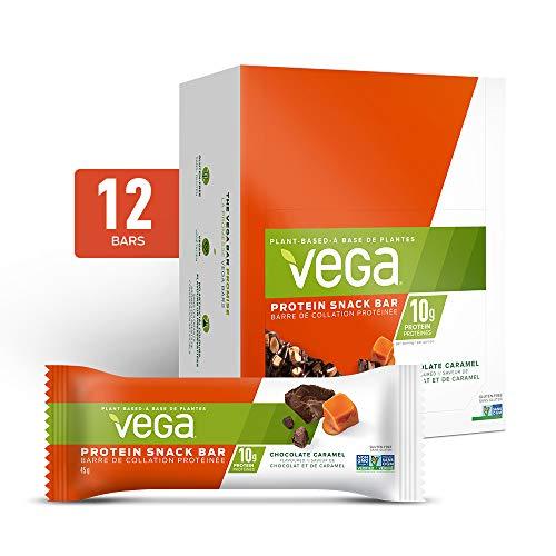 Vega Protein Snack Bar Chocolate Caramel (12 Count, 45g bar) - Plant Based Vegan protein, Non Dairy, Gluten Free, Non GMO