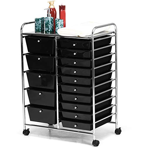 HOMGX 15 Drawer Rolling Storage Cart, 15 Drawer Organizer Trolley, 15 Tiers Storage Trolley, Storage Drawer Carts, File and Debris Storage Cart, Rolling Cart for Office and School Organizer (Black)