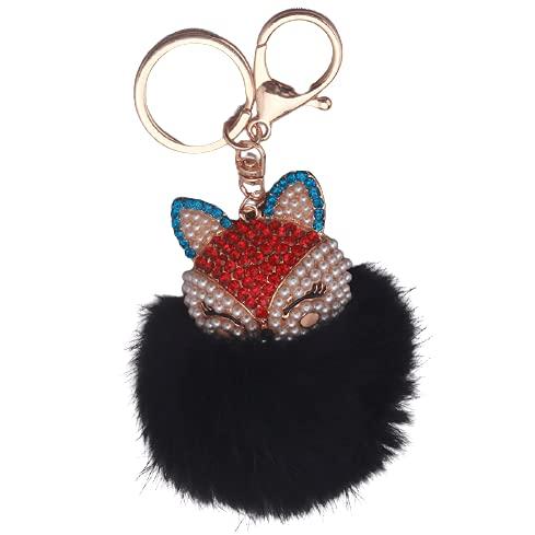 SJHFG Llavero de bola de piel artificial con una elegante cabeza de zorro de aleación para mujer bolsa de teléfono móvil coche encanto colgante decoración