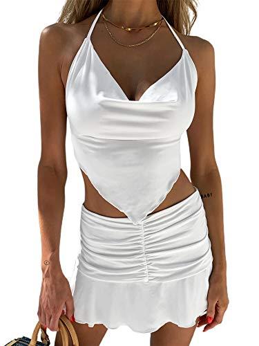 N /C Mini Falda Plisada para Mujer, Faldas de Tenis de Cintura Alta, Faldas Cortas con Volantes Sexis, Falda Y2k (White, S)