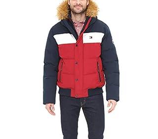 Tommy Hilfiger Men's Arctic Cloth Quilted Snorkel Bomber Jacket, Navy/White/Red, Medium (B07XVZLJVQ)   Amazon price tracker / tracking, Amazon price history charts, Amazon price watches, Amazon price drop alerts