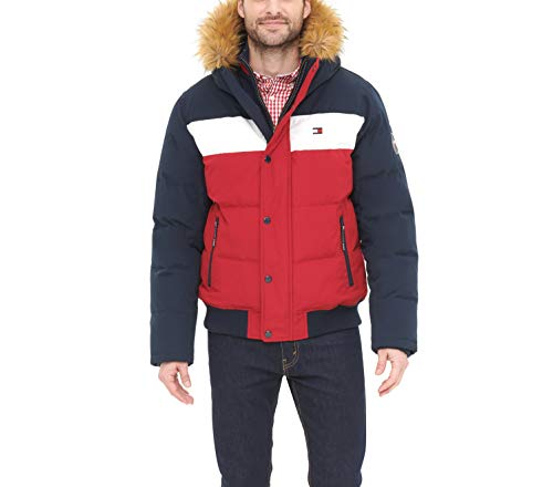 Tommy Hilfiger Men's Quilted Arctic Cloth Snorkel Bomber Jacket with Removable Hood (Standard and Big & Tall), Navy/White/Red, Large