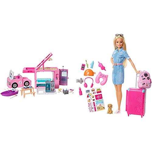 Barbie Caravana para Acampar 3 En 1 De con Piscina, Camioneta, Barca Y 50 Accesorios + Vamos De Viaje, Muñeca con Accesorios, Edad Recomendada: 3 Años Y Mas (Mattel Fwv25)
