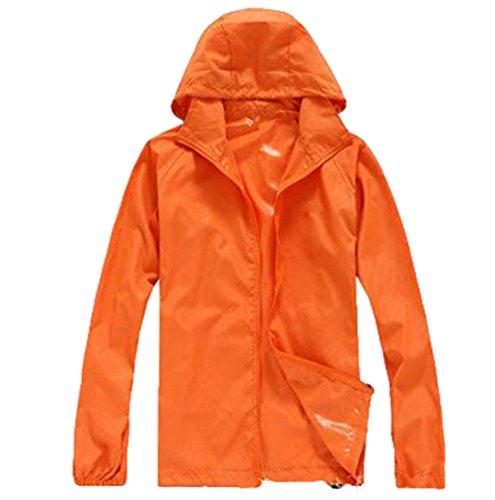 ZKOO Unisex Laufjacke Ultraleicht Sommer wasserdichte Sonnenschutz und Winddichte Lauf-Fahrradjacke Softshell Jacken Sport Damen Herren Orange