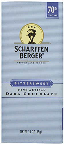 SCHARFFEN BERGER 70% Cacao Bittersweet Dark Chocolate Bar, 3 Ounce