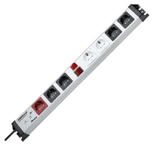 Kopp 227620016  Powerversal Steckdosenleiste 1+2+2x2-fach, mit Master-Slave mit Geräteschutz-Überspannungsfilter Safetronic