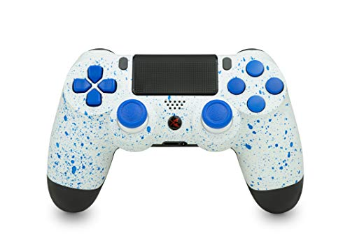 KING CONTROLLER® PS4 Controller mit Custom Design (weiß, blau, gefleckt) - DualShock 4 - PlayStation 4 Pro Slim - Wireless PS4-Controller