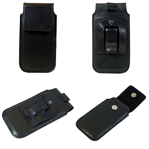Vertikal Handytasche für Smartphone simvalley Mobile SPX-34, Echtleder, 169 x 92 x 20mm, schwarz
