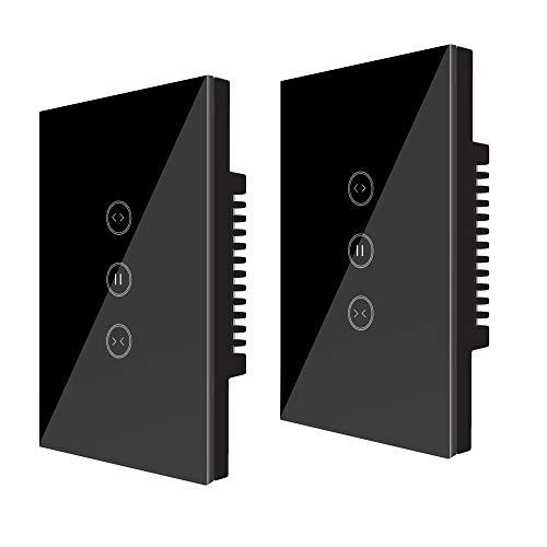 WiFi Curtain Switch, Jinvoo Controller Roller Shutter Switch, US Smart Wifi Touch Switch, Controllo Remoto e Vocale, Funziona con Amazon Alexa (Echo) / Google Home/iOS/Android, Nero (2 Packs)