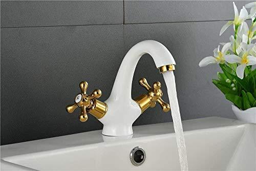 Wasserhahn Becken Zubehör Antike weiße Herd Emaille Gold heiß und kalt Retro Becken Wasserhahn Waschbecken Wasserhahn