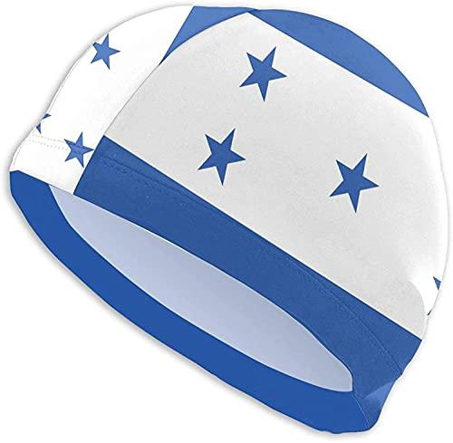 Bandera de Honduras - Gorro de natación de poliéster transpirable para hombre y mujer, gorros de baño flexibles y ligeros, gorro de natación de pelo largo. Te hace único en la piscina.