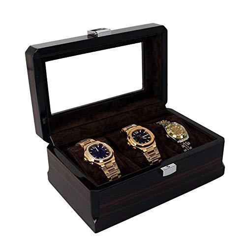 MAATCHH Caja de reloj de madera de 3 dígitos, caja de almacenamiento para relojes, caja expositora de pintura, regalo simple y elegante (color negro, tamaño: S)