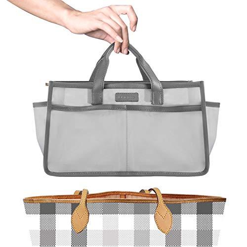 CHICECO Lightweight Purse Organizer Insert Nylon Handbag Organizer with Handles Bag in Bag for Tote Bags, Grey