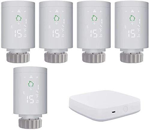 KKmoon Thermostat (5 Stück) Heizung Thermostatkopf Intelligenter Heizkörperregler ZIGBEE 3.0 mit Smart Home Gateway ZigBee-Gateway-Host Smart-Gateway WLAN Verbindung für mehrere Geräte