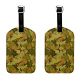 Army Jungle Digital Camo Luggage Tags Full Back Privacy Cover Name ID Labels Set For Trave Bag Tag For Suitcase 2 Piece