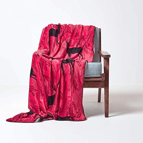 HOMESCAPES - Plaid ou jeté de canapé Polaire Doux Revers Sherpa Motif cerf Rouge – 130 x 170 cm
