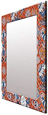 999Store Printed Orange Birds Pattern Mirror