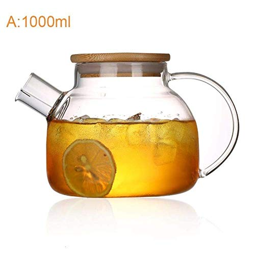 ZCC Tetera de 1000 ml/1800 ml de gran capacidad, tetera de cristal con tapa de bambú, 1000 ml.