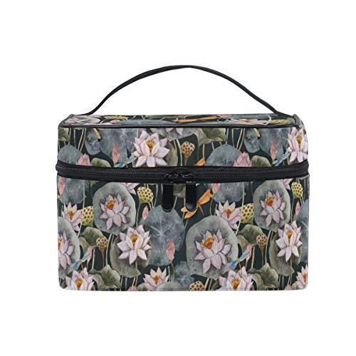 HaJie Large Capacity Makeup Bag Organiser Watercolor Lotus Dragonfly Travel Portable Cosmetic Case Toiletry Storage Bag Wash Bag for Women Girls