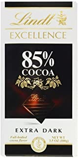 Lindt Excellence Extra Dark 85% Cocoa Chocolate Bars (4 Pack) 3.5 oz Bars by Lindt