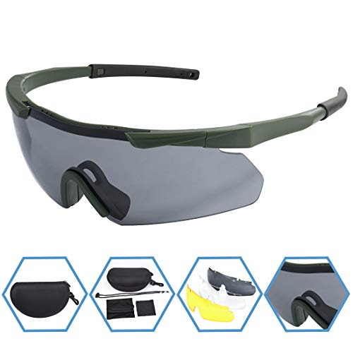 XAegis Tactical Eyewear 3 Interchangeable Lenses, Outdoor Antifog Safety Glasses & Hard Shell Case - Unisex Shooting Glasses Cycling, Driving, Hiking,Fishing, Hunting - Green Frame