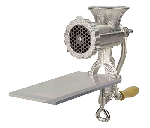 Home Basics Cast Iron Heavy Duty Meat Grinder #8, Silver