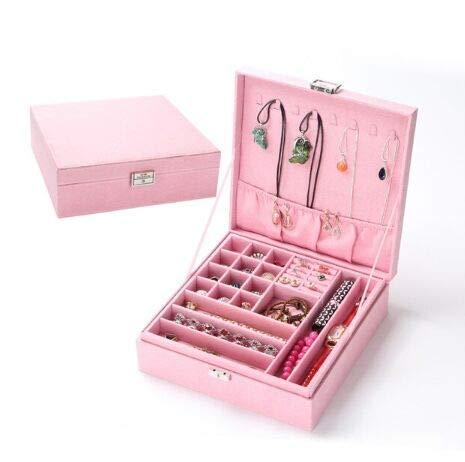 #N/A Organizador de joyas multicapa de gran capacidad con cierre, collar, anillo, pulsera, pendientes (rosa claro)