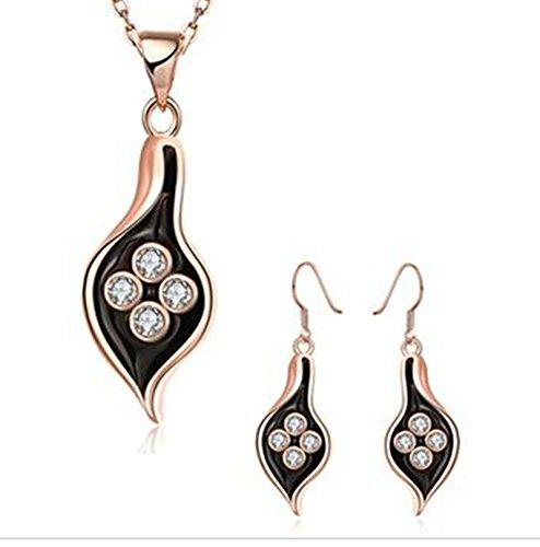 Aeici Roségold Schmucksets Design Tropfenform Intarsien Cz Halskette Ohrringe 2St