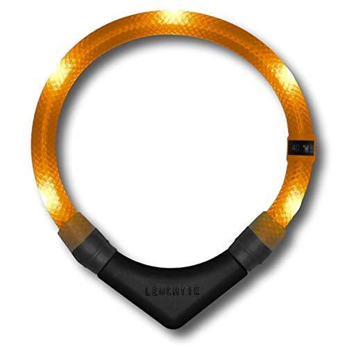 LEUCHTIE® Leuchthalsband Premium orange Größe 65 I LED Halsband für Hunde I konstante Leuchtkraft I wasserdicht I extrem hell