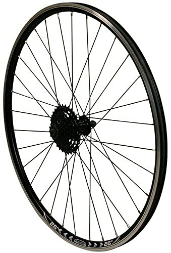 Redondo 26 Zoll Hinterrad Laufrad Felge Schwarz + 7-Fach Shimano Kassette