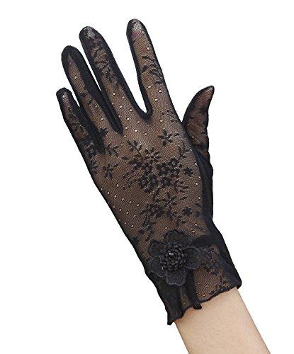 EEVASS Damen Sommer Elegant Spitze Blume Hochzeitskleid Handschuhe (# Schwarz)