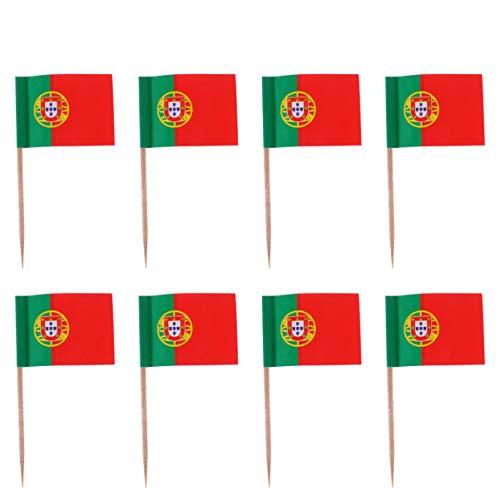 Amosfun 100 Stück Mini Portugal Flagge Zahnstocher Cupcake Topper Holz Cocktail Spieße Dessert Obst Picks für Bar Restaurant Cocktail Sport Party Dekoration Lieferungen (Portugal)