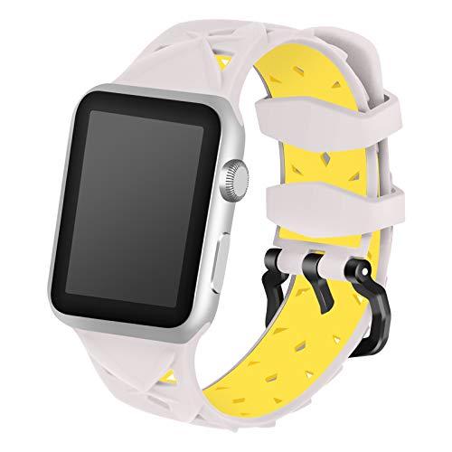 Fhony Correa Compatible con Apple Watch 38mm 40mm 42mm 44mm Suave Silicona Reemplazo Pulseras Mujer Hombres Cómoda Correa Deportiva para Iwatch Series 6 SE 5 4 3 2 1,Gray+Yellow,42mm