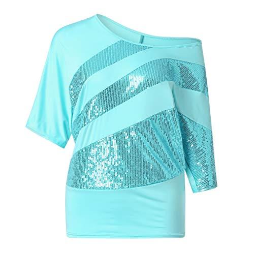 IHEHUA Tunika Damen Sommer T-Shirt Rundhals Einfarbig Pailletten Sparkle Blusen Lässige Trägerbluse Oberteil Lose Tight Wild Tops Street Sweatshirt(Blau,XL)