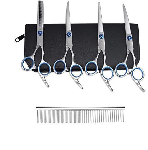 Baulanna Fellscheren-Set,4 in 1 Hundescheren Set,6 Zoll Hundeschere,Hundepflege Schere Set,Fellpflegekamm,für alle Hunde Katze Schneiden und Grooming (Blue)