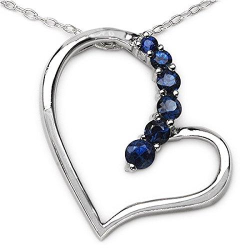 Schmuck-Schmidt-Collier mit Herz-Anhänger Blue Saphir in 925er Sterling Silber Rhodiniert - 0,51 Karat